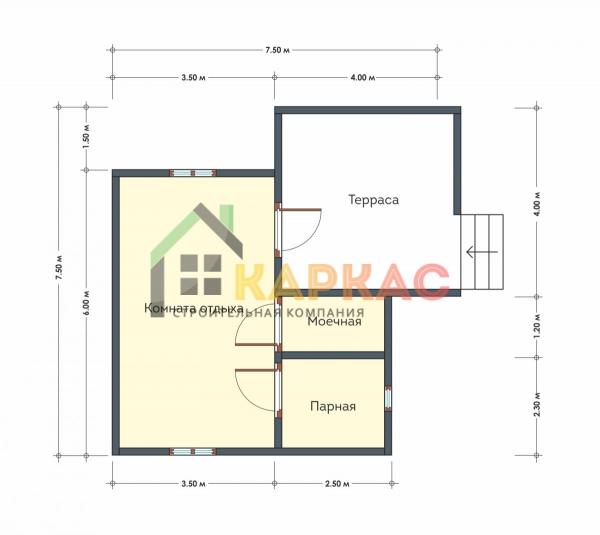 Строительство бани с террасой 7,5х7,5 Дубовая роща план