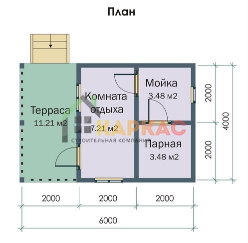 план каркасной бани 6х4