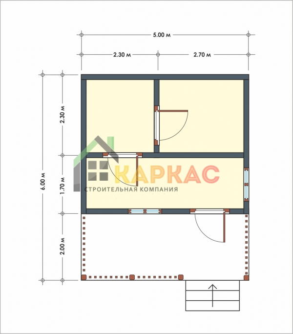Стандартная баня 5х6 с террасой Луговая план