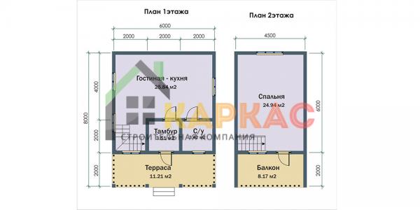 планировка 1 и 2 этажа в доме