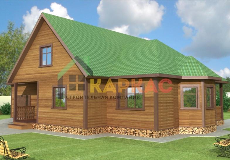 мансардный дом с гаражом на фото