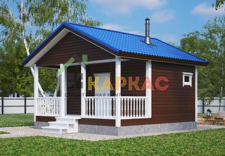 Проект бани с террасой из бруса 6х6 Павловская слобода