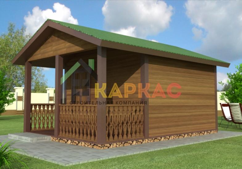 проект каркасного домика 5х4 с террасой