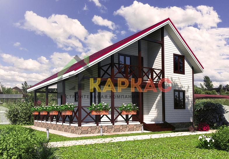 Двухэтажный каркасный дом 9x9 «Терем»