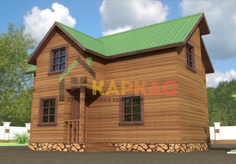 каркасный дом проект спереди