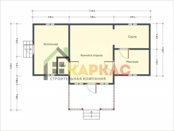 Проект большой деревянной бани 11,6х8,3 Дрезна план