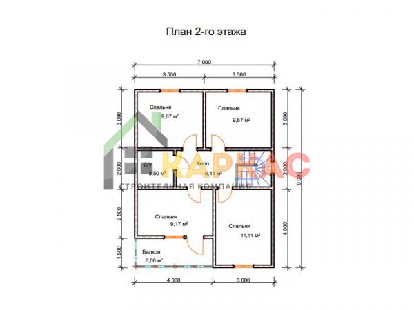 Двухэтажный каркасный дом 9x9. План 2го этажа