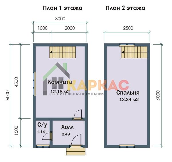 планировка домика 6х3