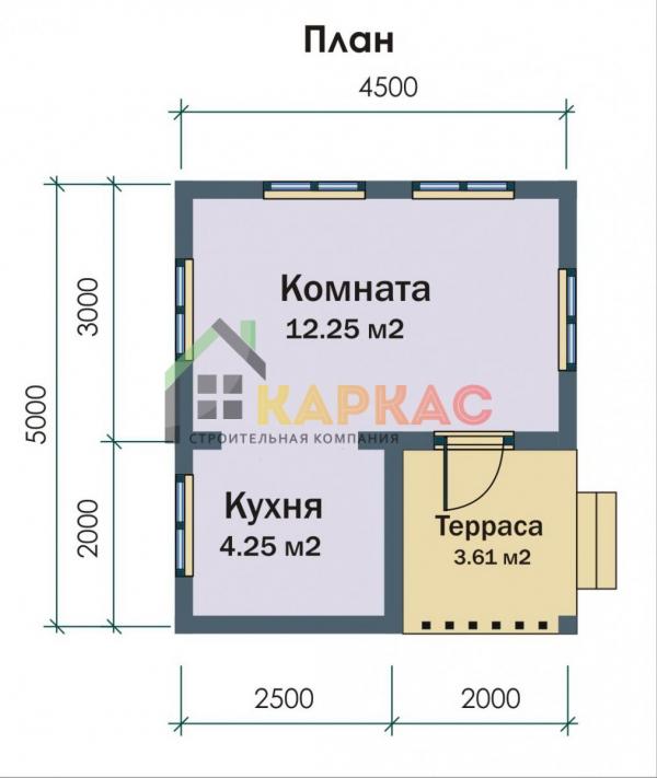 планировка однокомнатного домика