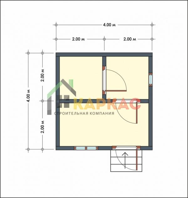 проект маленькой бани 4х4 план