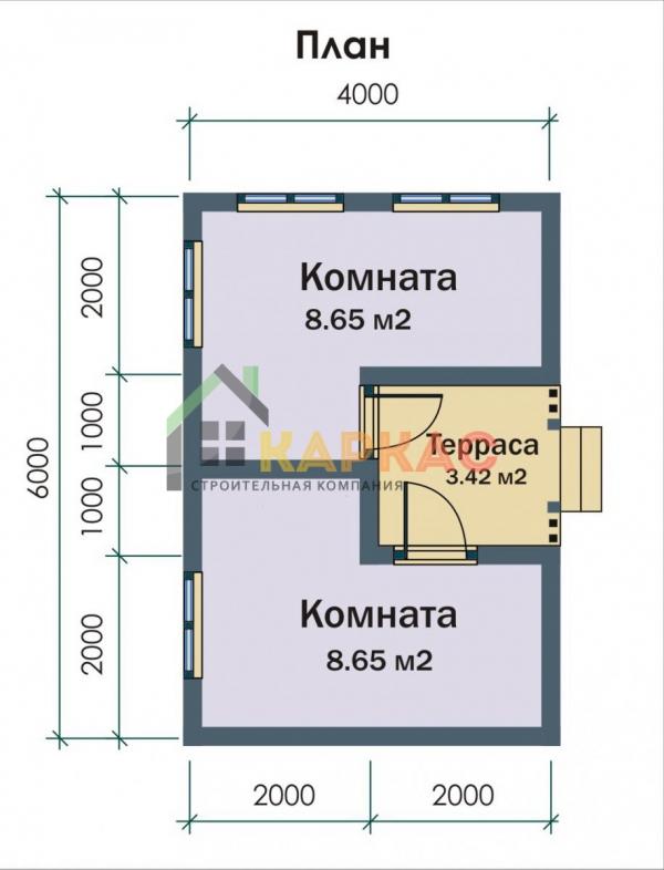 планировка домика 6х4