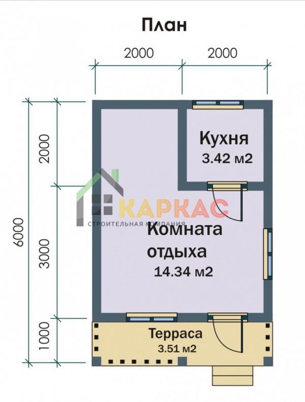 план каркасного дома 4х6