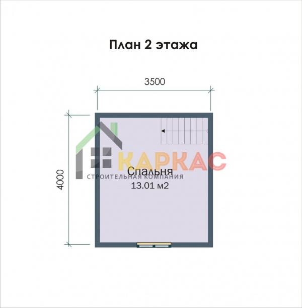 план 2 этажа каркасного дома 5х4
