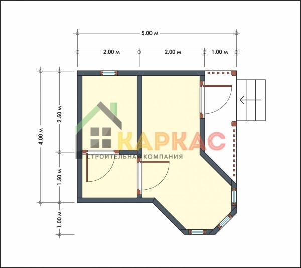 Проект бани с эркером 5х5 Собинка план