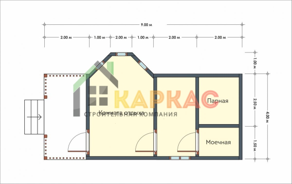 Баня с террасой и эркерной комнатой отдыха 4х9 Заря план