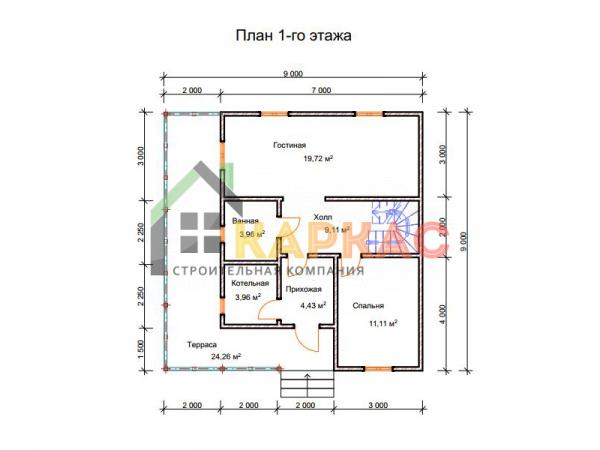 Двухэтажный каркасный дом 9x9. План 1го этажа