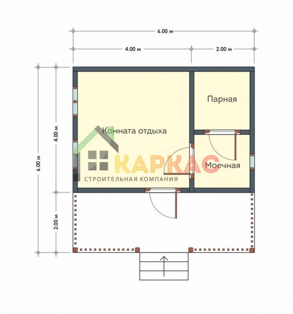 Проект бани с террасой из бруса 6х6 Павловская слобода план