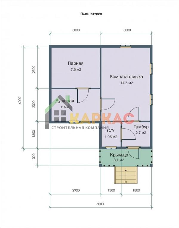 план каркасной бани 6х6
