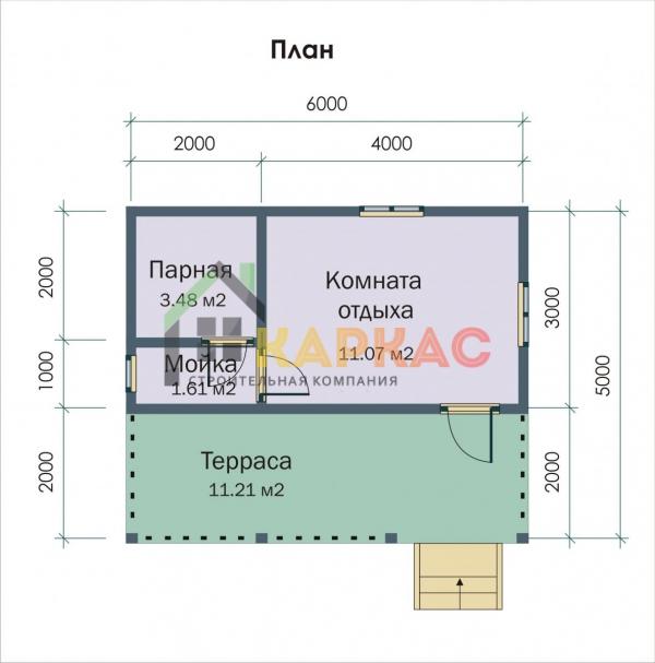 план каркасной бани 6х3