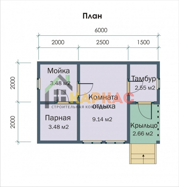 план каркасной бани 4х6
