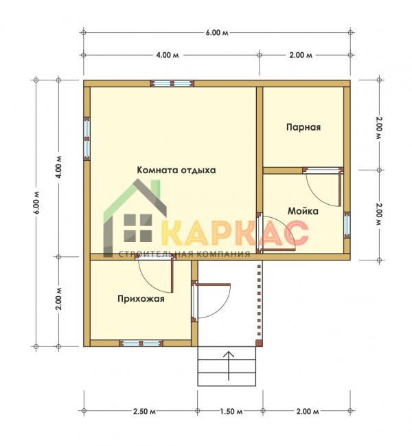 Каркасная баня 6х6 «Проект №1» план