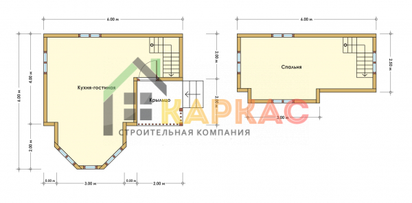 Каркасный дом 6х6 «Проект №1» план