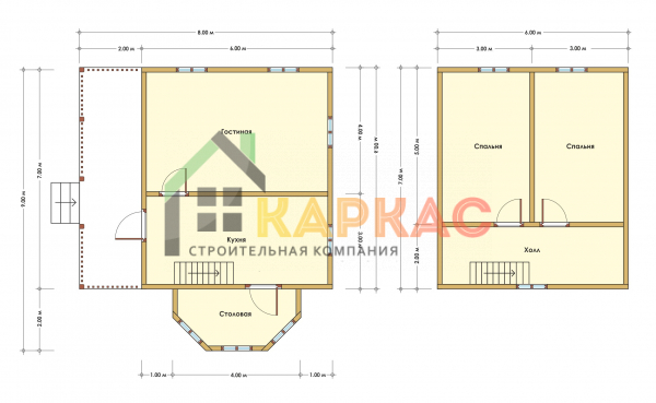 Каркасный дом 9х8 «Проект №2» план
