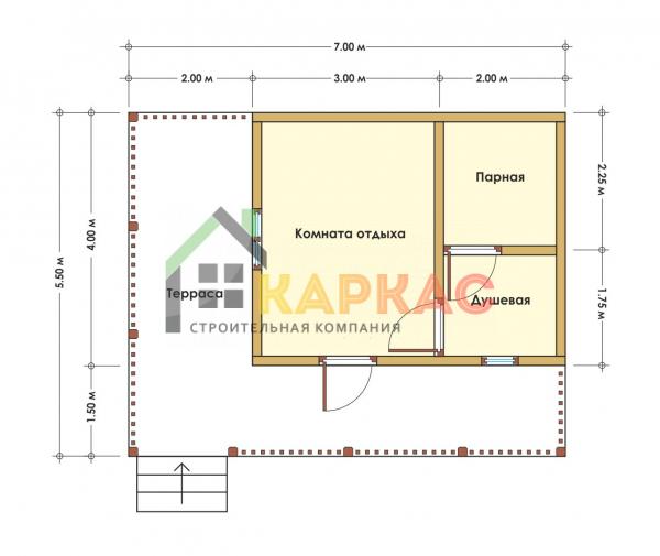 Каркасная баня 7х5,5 «Проект №2» план