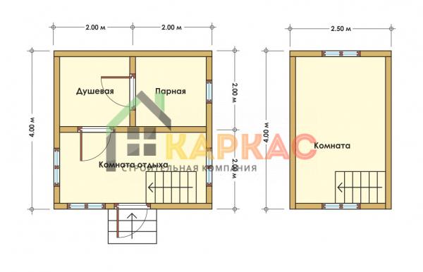 Каркасная баня 4х4 «Проект №4» план