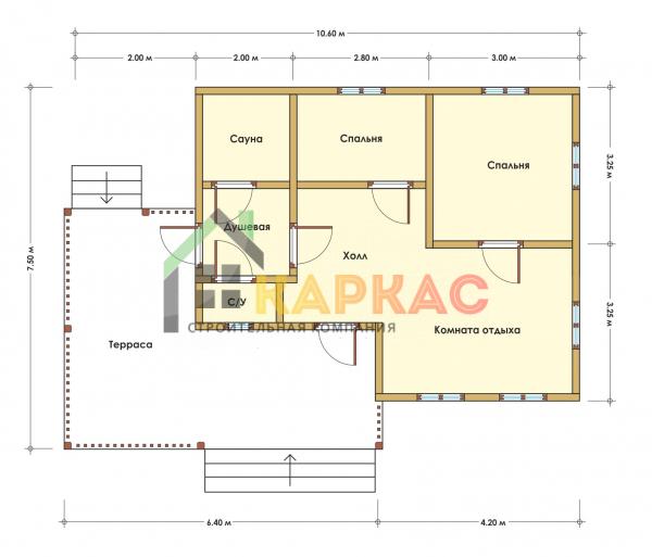 Каркасный дом-баня 10,6х7,5 «Проект №3» план