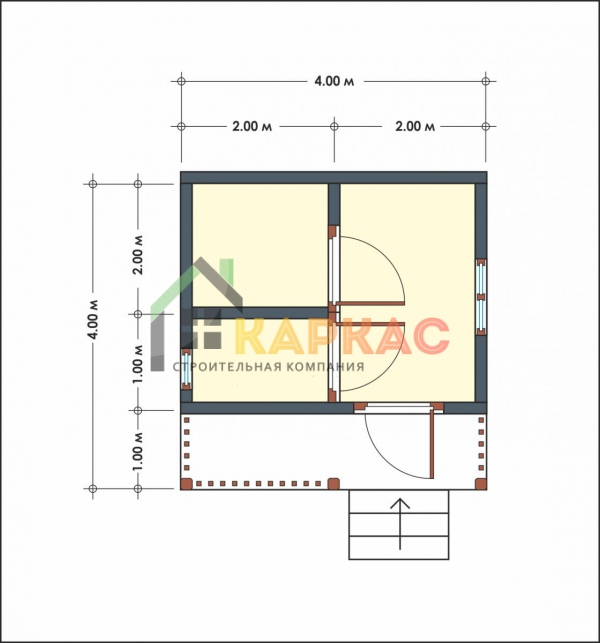 план маленькой бани с террасой 4х4