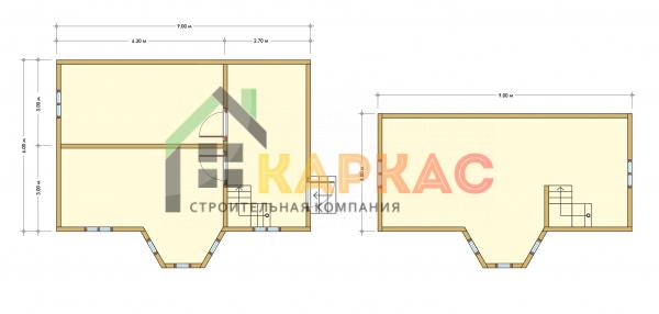 Каркасный дом 9х6 «Проект №4» план