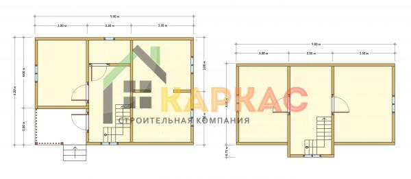 Каркасный дом 9х6 «Проект №5» план