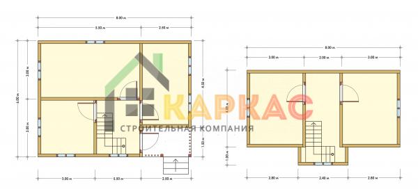 Каркасный дом 8х6 «Проект №6» план