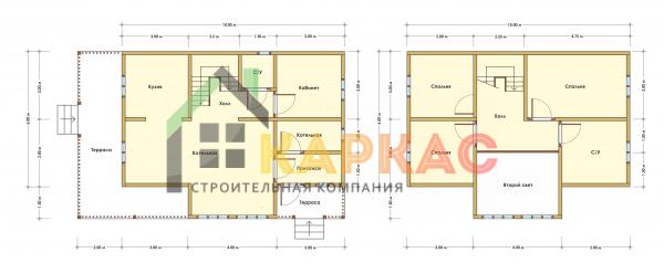 Каркасный дом 12х7,5 «Проект №7» план
