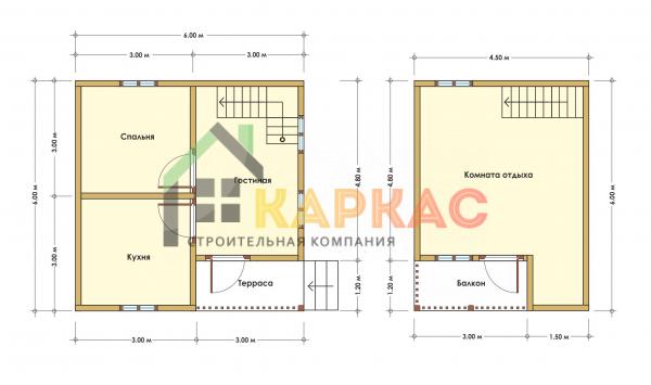 Каркасный дом 6х6 «Проект №8» план