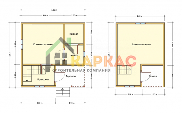Каркасная баня 6х6 «Проект №6» план