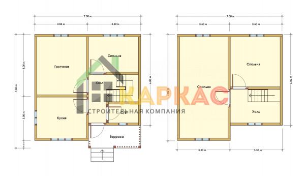 Каркасный дом 7,5х7 «Проект №9» план