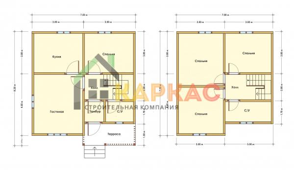Каркасный дом 8,2х7,5 «Проект №10» план