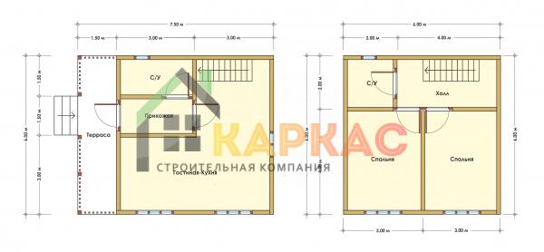 Каркасный дом 7,5х6 «Проект №11» план