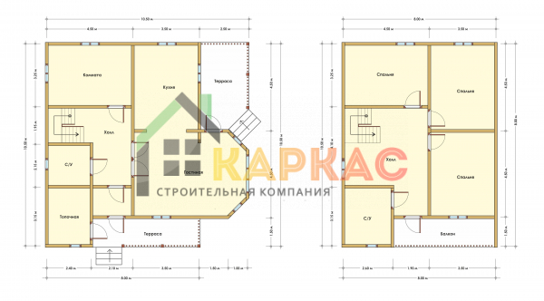 Каркасный дом 10,5х10,5 «Проект №13» план