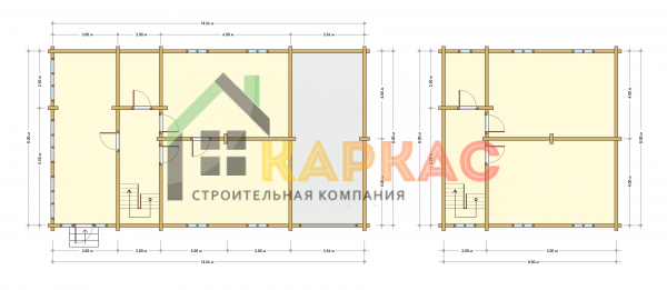 Каркасный дом 14,6х8 «Проект №12» план