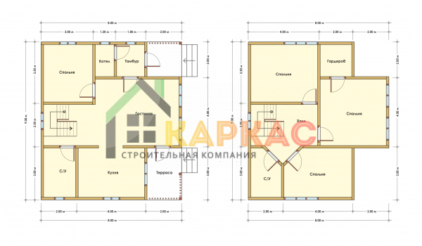 Каркасный дом 9х8 «Проект №14» план