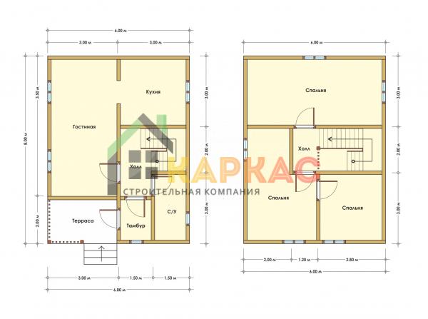Каркасный дом 8х6 «Проект №15» план