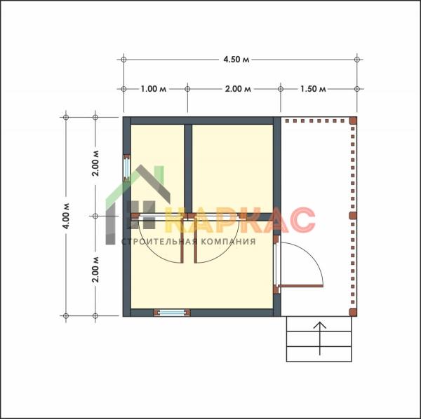 план деревянной бани из бруса 4х4,5