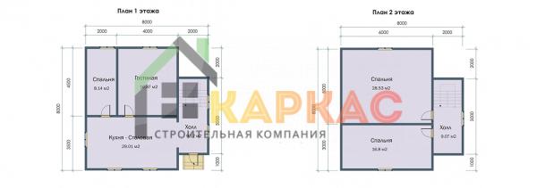 Планировка 2 этажей в каркасном доме